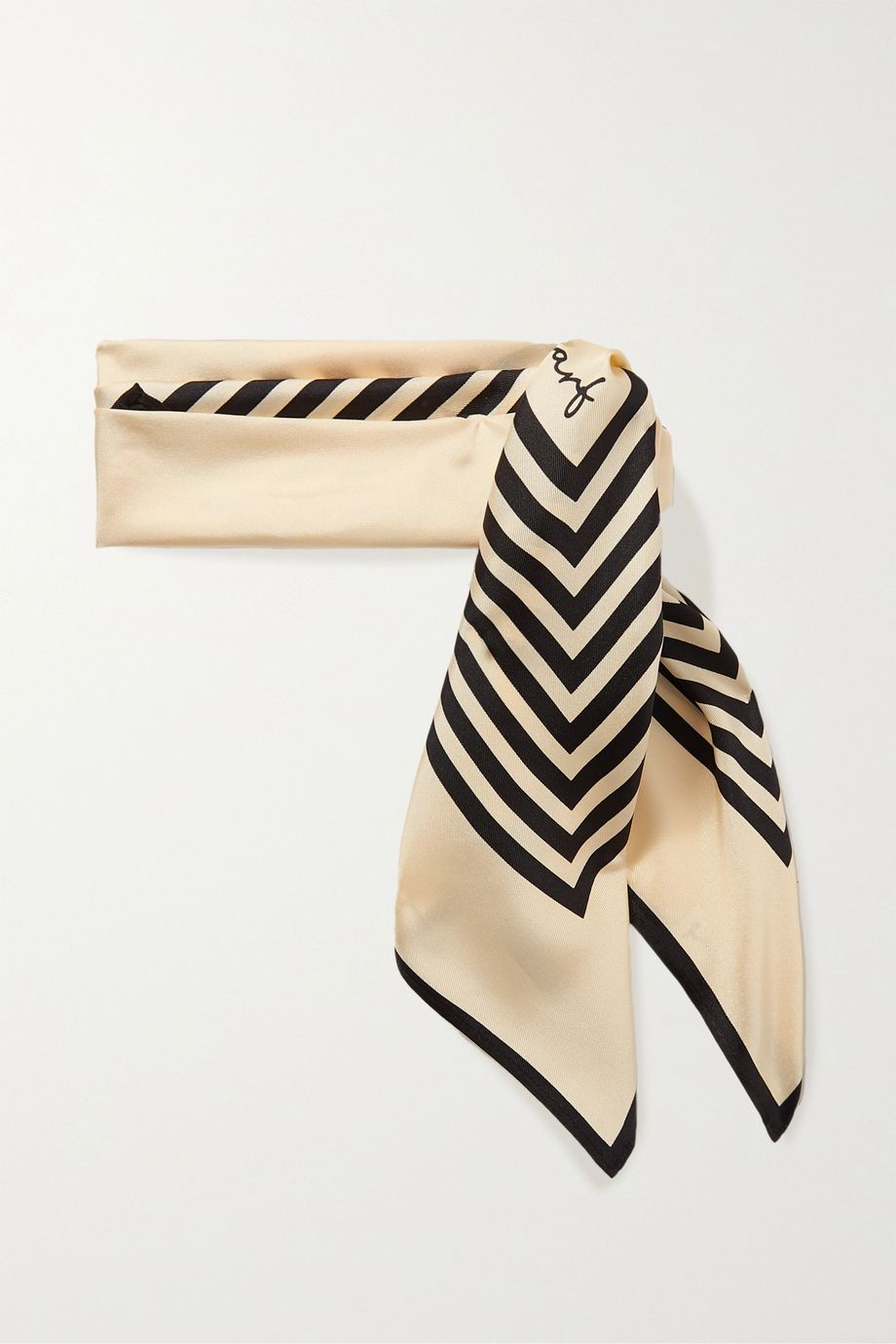 lescarf No. 1 striped silk-twill scarf