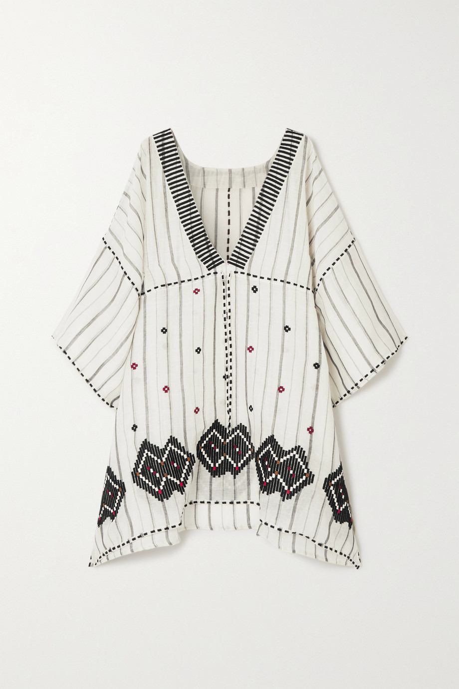 Eres Brigitta embroidered striped linen and cotton-blend kaftan