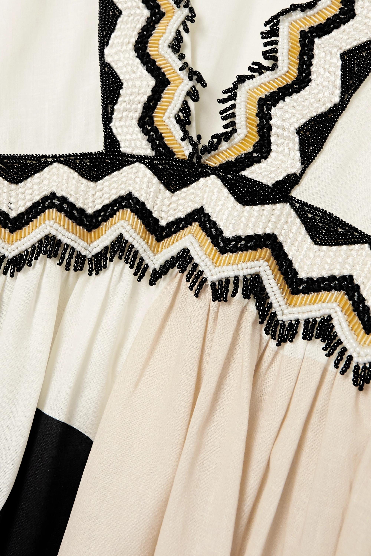 Eres Avana verziertes Midikleid aus einer bedruckten Baumwoll-Leinenmischung