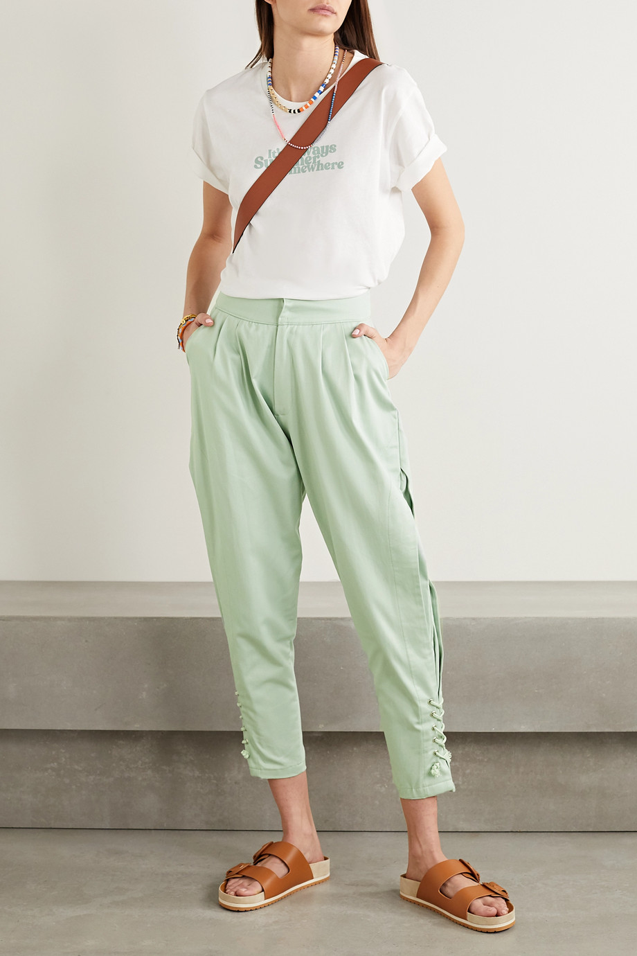 Paradised Arielle lace-up cotton-twill tapered pants