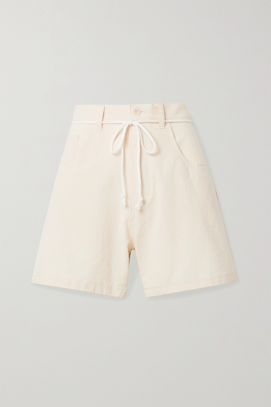 Paradised Calvin belted cotton-crepe shorts