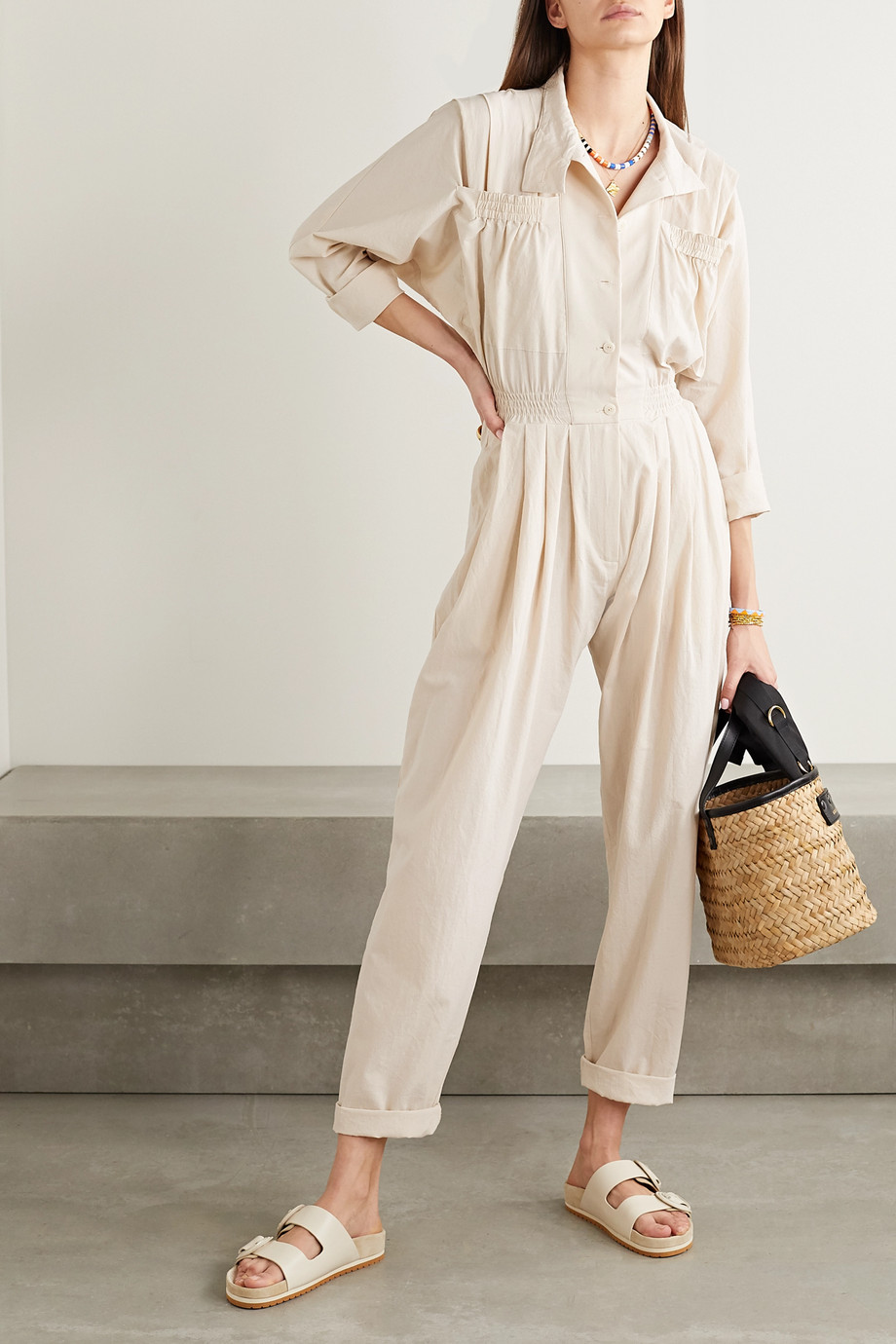 Paradised Alex pleated cotton-crepe jumpsuit
