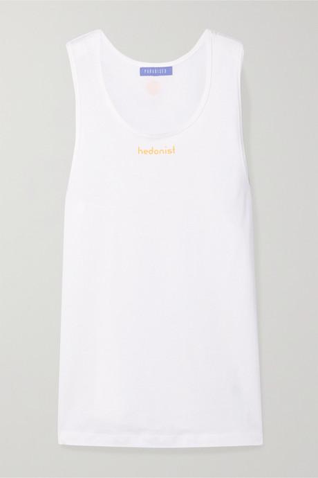 White Hedonist printed cotton-jersey tank | Paradised JqUBGR
