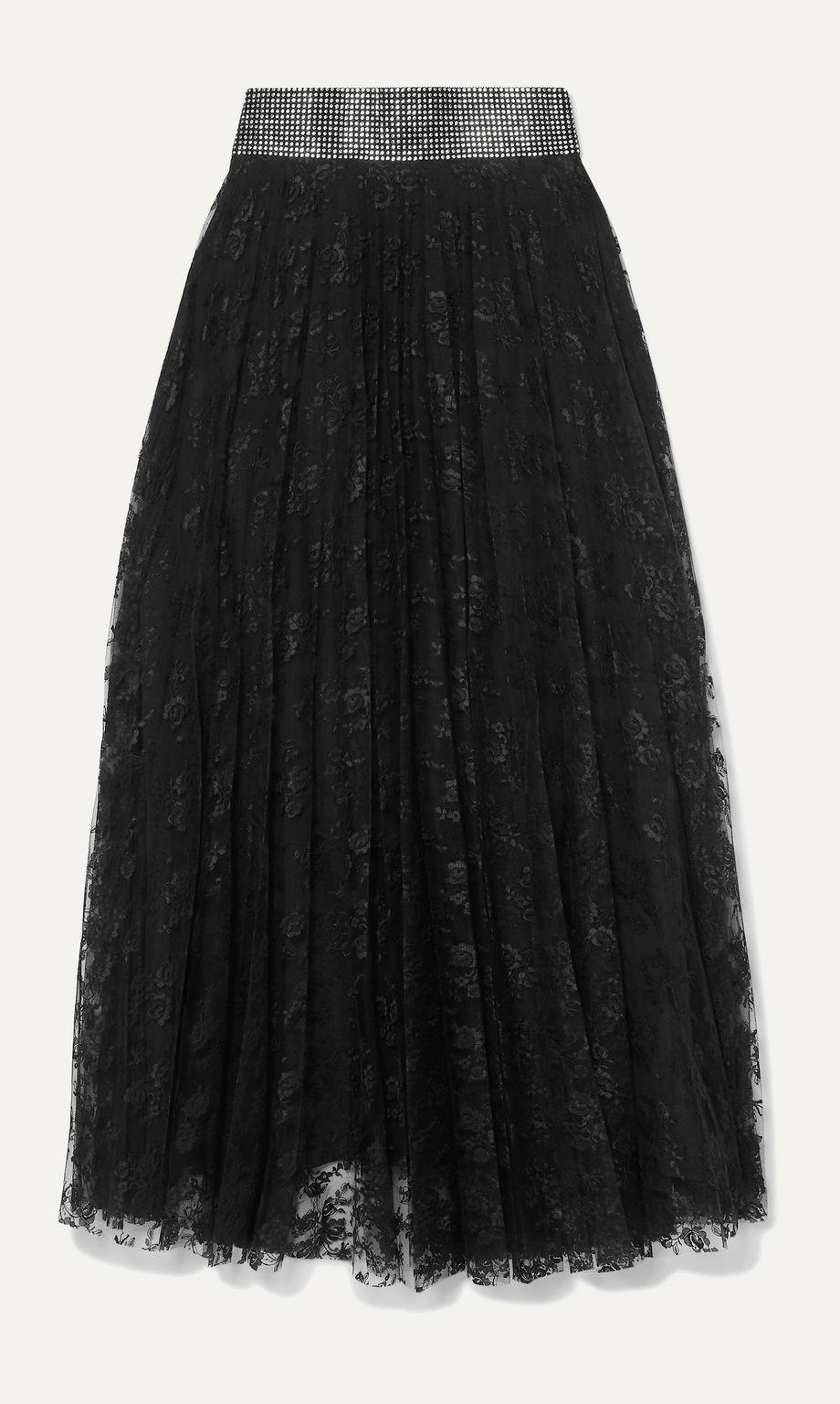 Christopher Kane Crystal-embellished pleated lace midi skirt