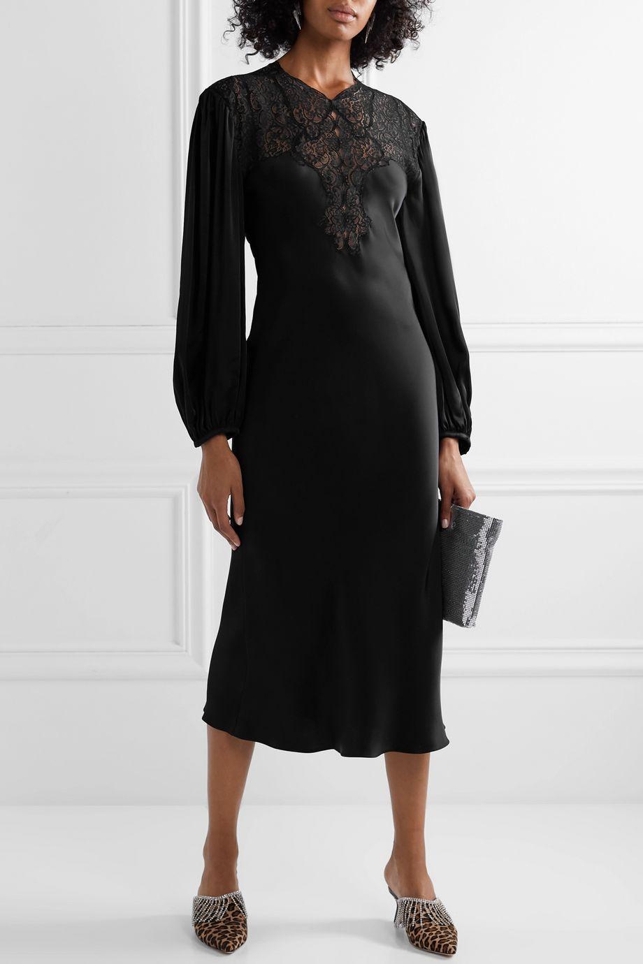 Christopher Kane Lace-paneled charmeuse midi dress