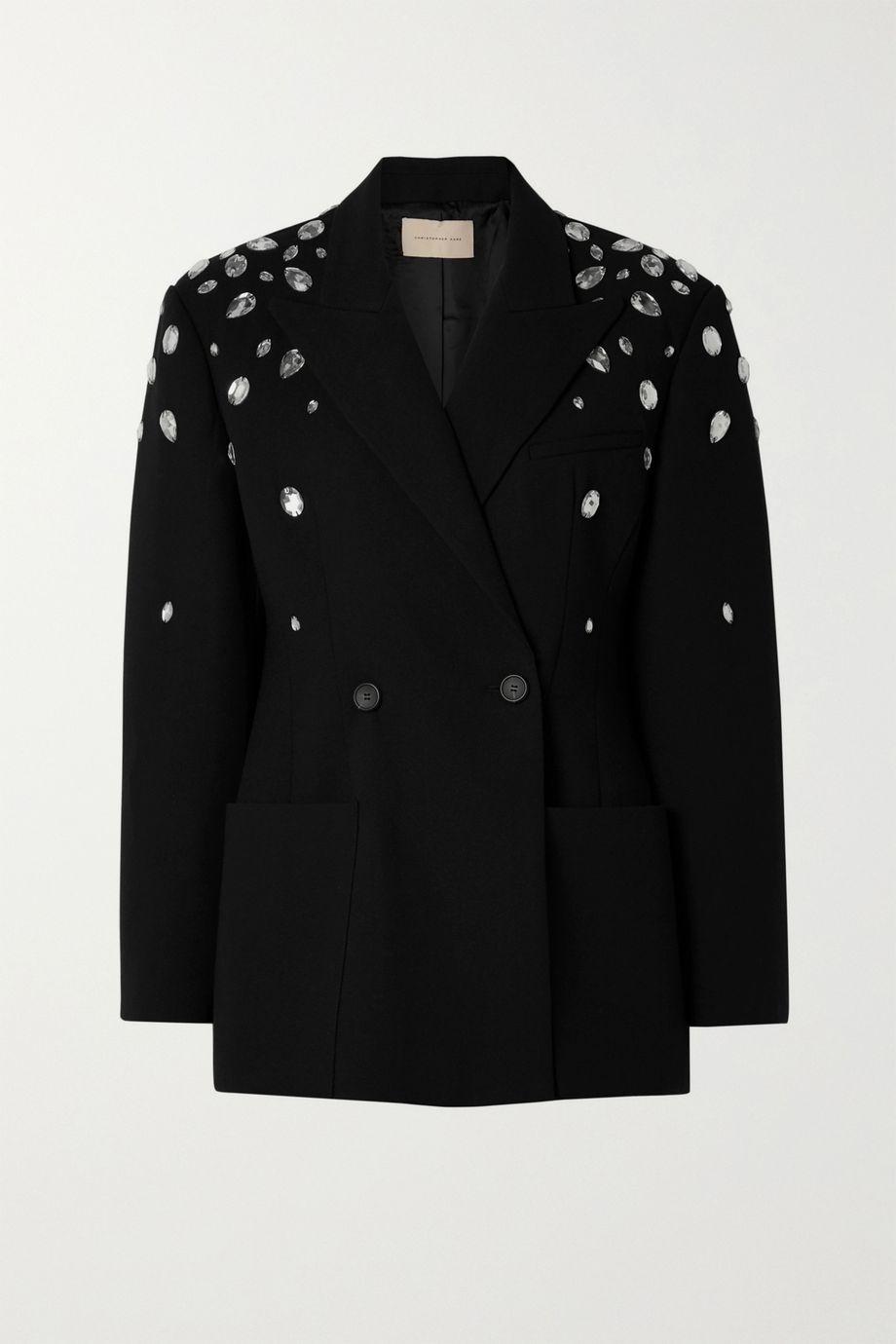 Christopher Kane Double-breasted crystal-embellished crepe blazer