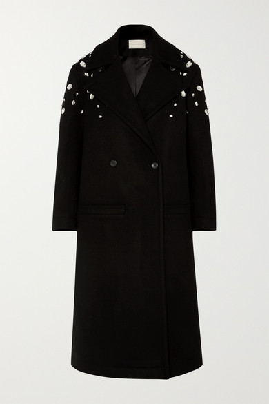 Christopher Kane Coats Crystal-embellished double-breasted wool-blend coat