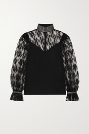 Christopher Kane Crystal-embellished satin and lace blouse