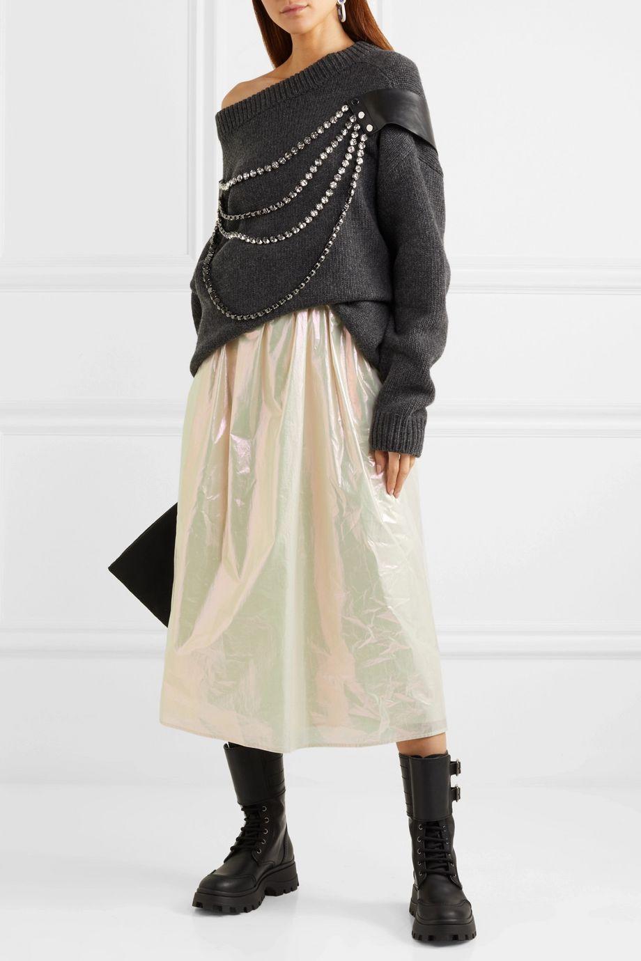 Christopher Kane Coated cotton midi skirt