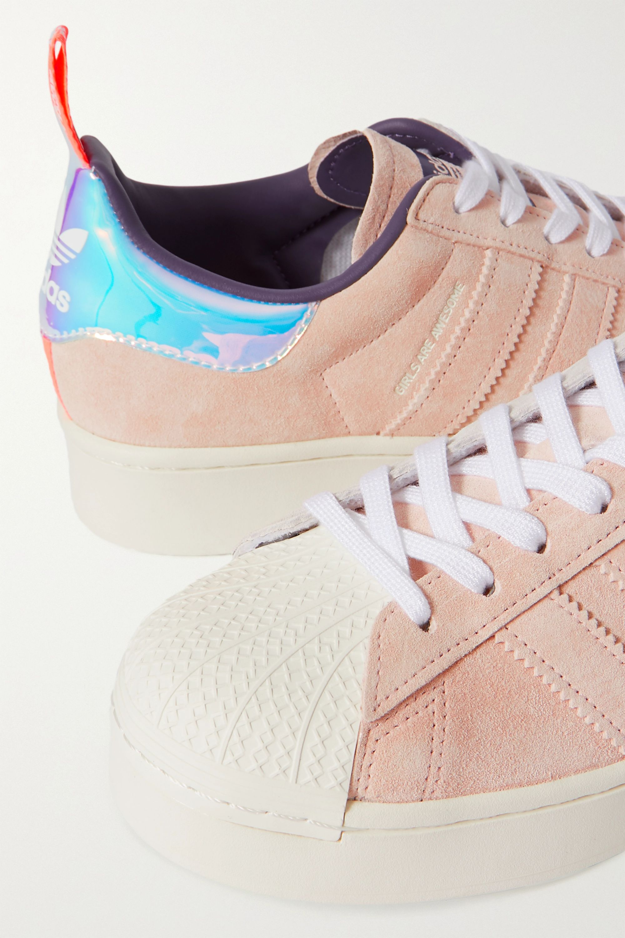 adidas Originals + Girls Are Awesome Superstar metallic-trimmed suede sneakers