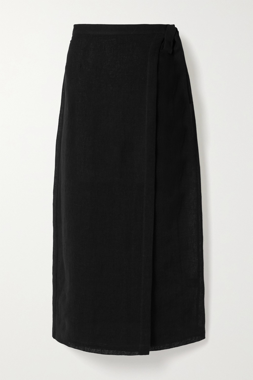 Lisa Marie Fernandez Linen-blend gauze wrap midi skirt