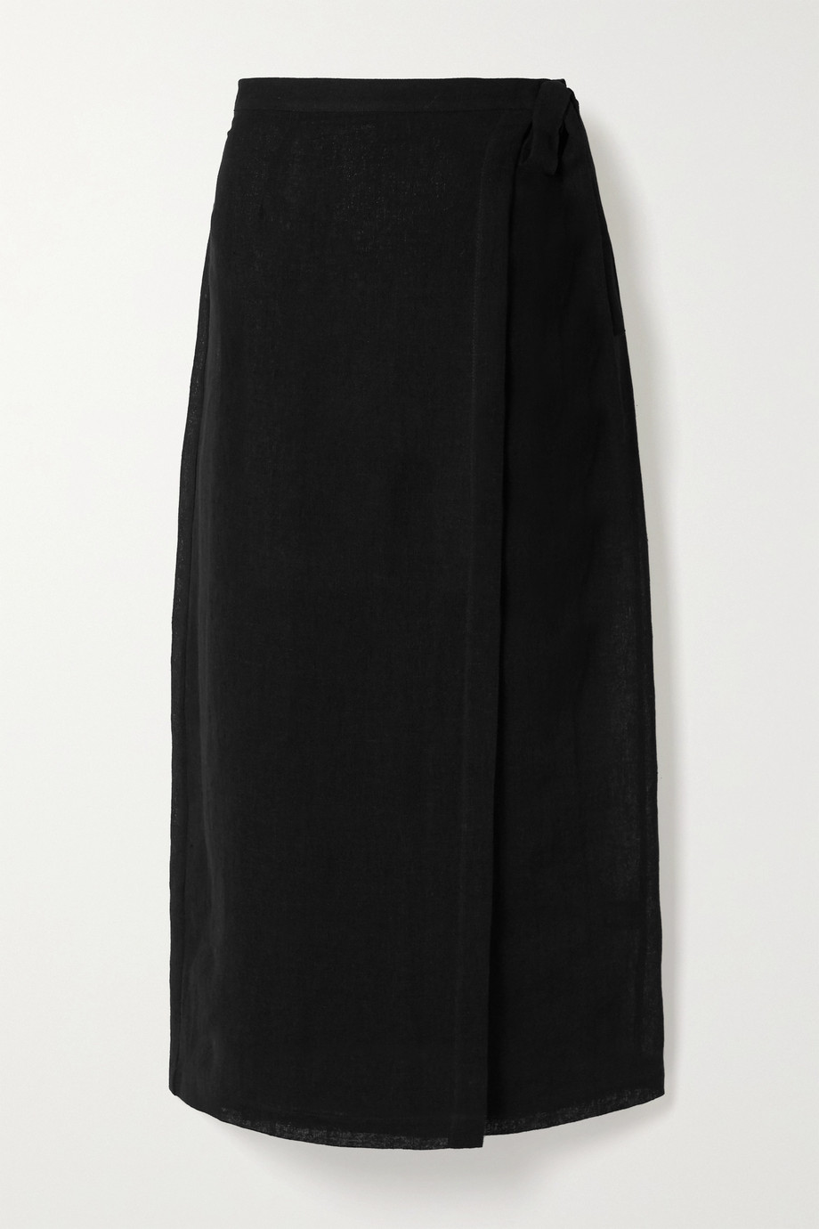 Lisa Marie Fernandez 亚麻混纺薄纱围裹式中长半身裙