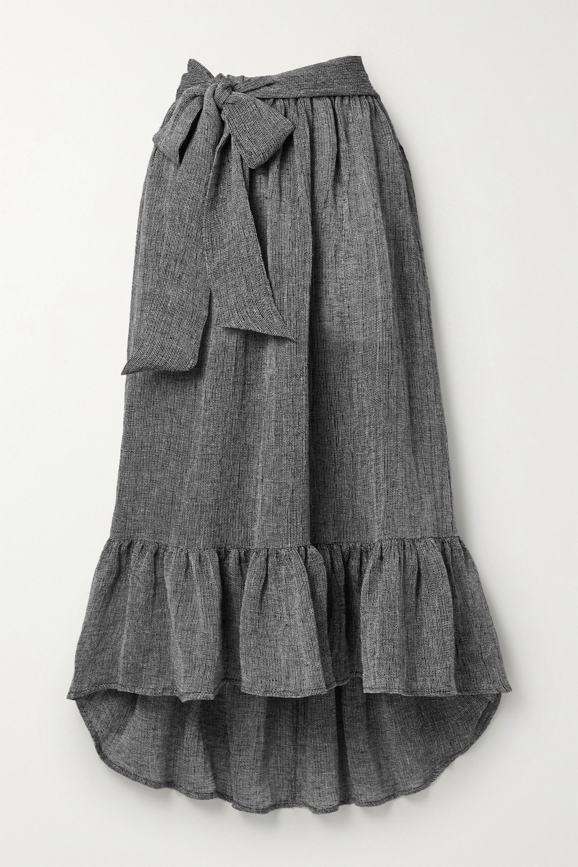 Lisa Marie Fernandez Nicole belted ruffled linen-blend gauze midi skirt