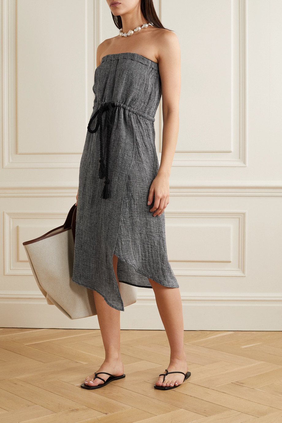 Lisa Marie Fernandez Victor strapless linen-blend gauze midi dress