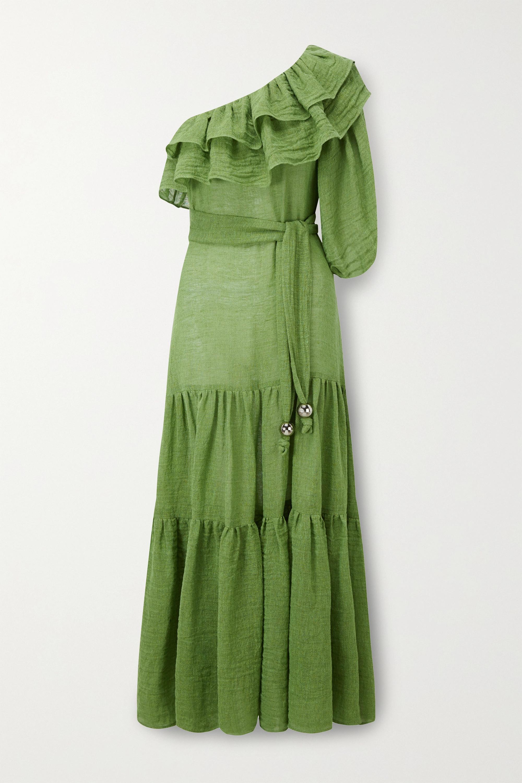 Lisa Marie Fernandez Arden ruffled one-sleeve organic linen-blend gauze maxi dress