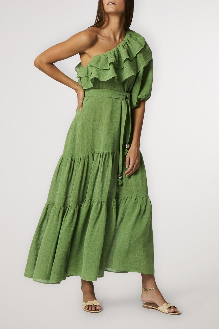 Lisa Marie Fernandez Arden ruffled one-sleeve organic linen-blend gauze maxi dress