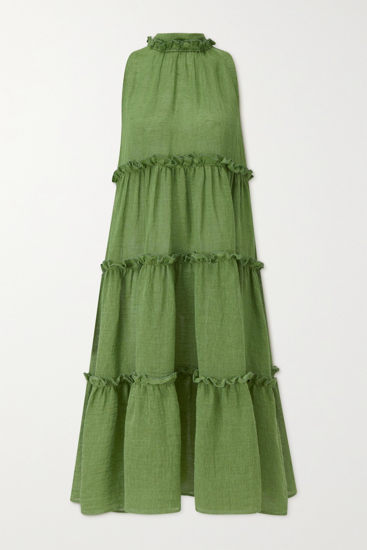 Lisa Marie Fernandez Erica ruffled tiered organic linen-blend gauze midi dress