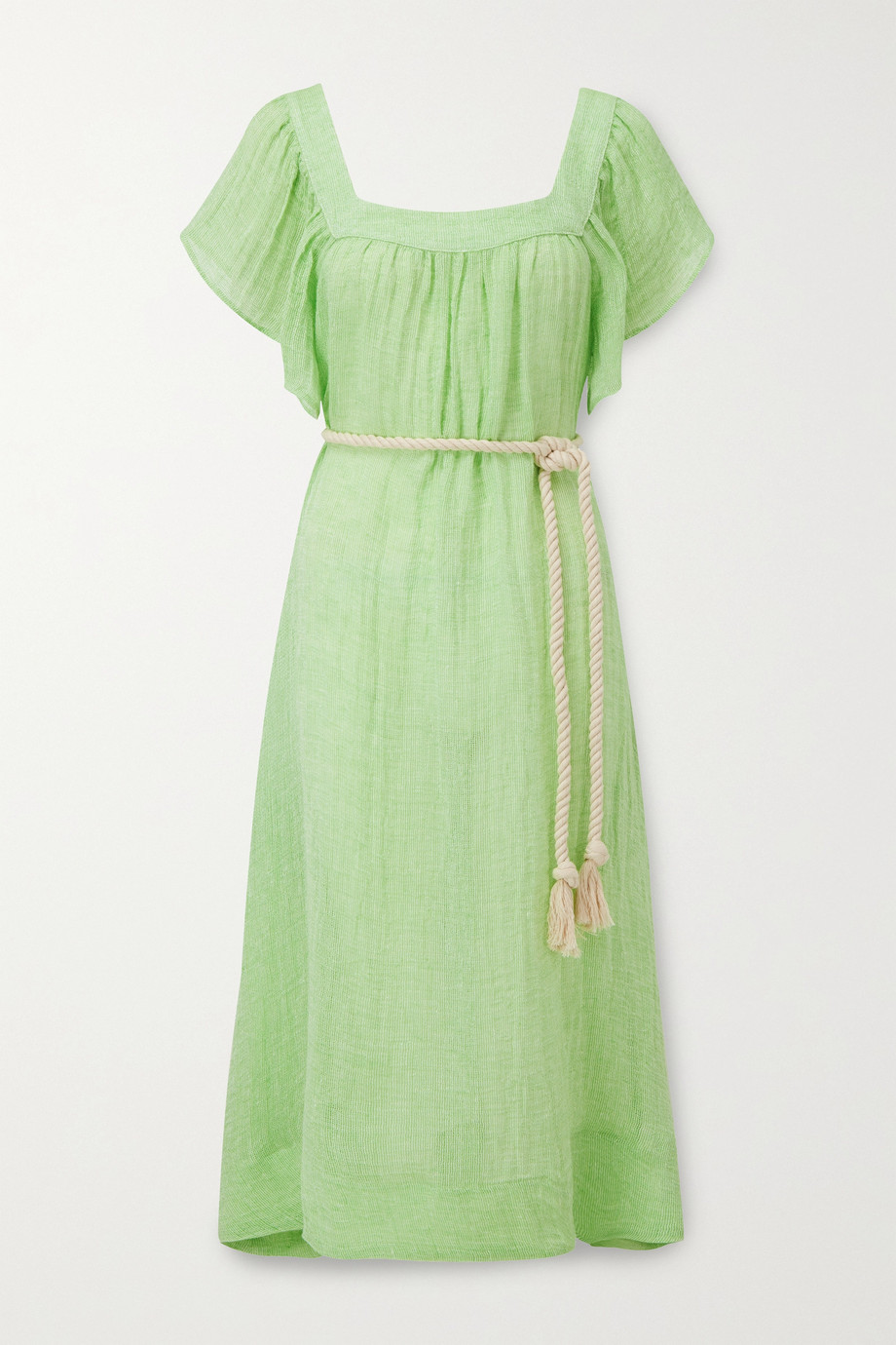 Lisa Marie Fernandez Muu Muu belted linen-blend gauze midi dress