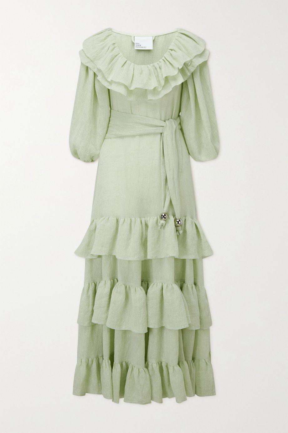 Lisa Marie Fernandez Eugenie belted ruffled metallic linen-blend gauze maxi dress