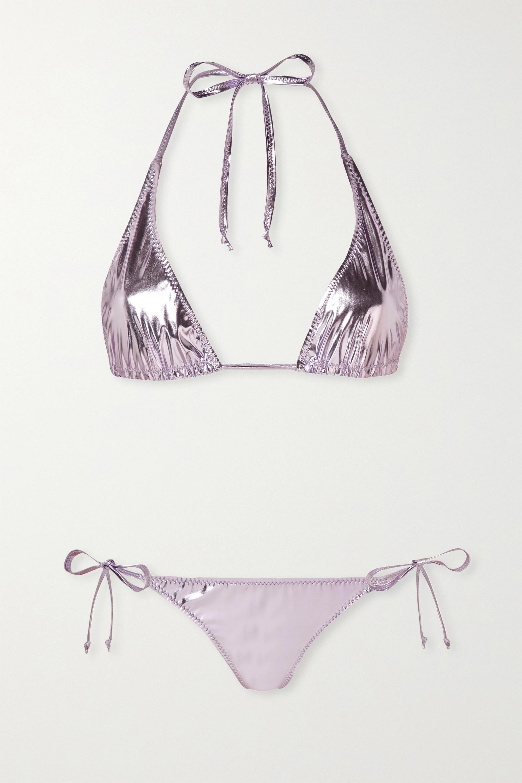 Lisa Marie Fernandez Pamela metallic stretch-PVC bikini