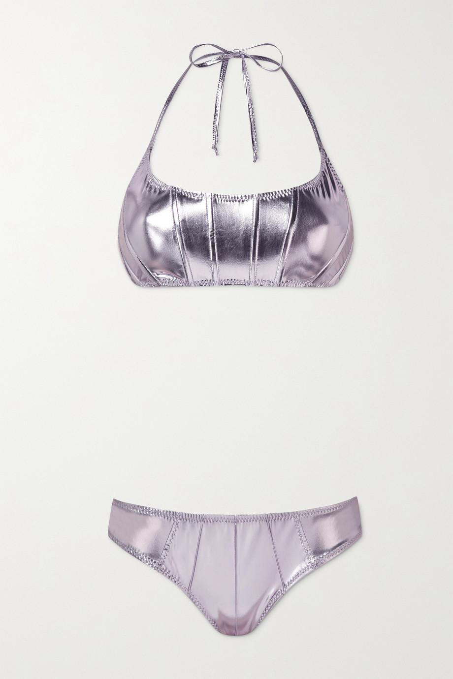 Lisa Marie Fernandez Corset pintucked metallic stretch-PVC halterneck bikini