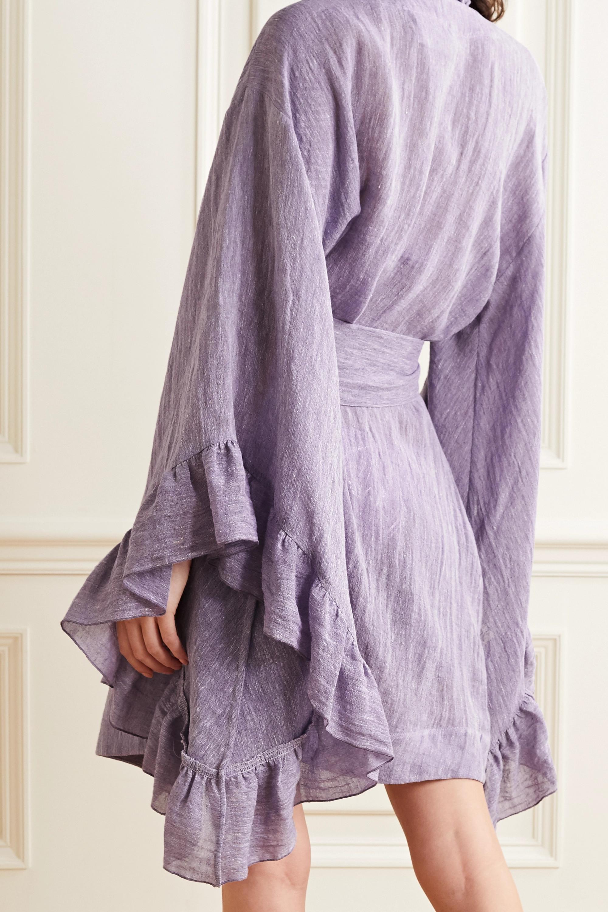 Lisa Marie Fernandez Anita belted ruffled organic linen-blend gauze robe