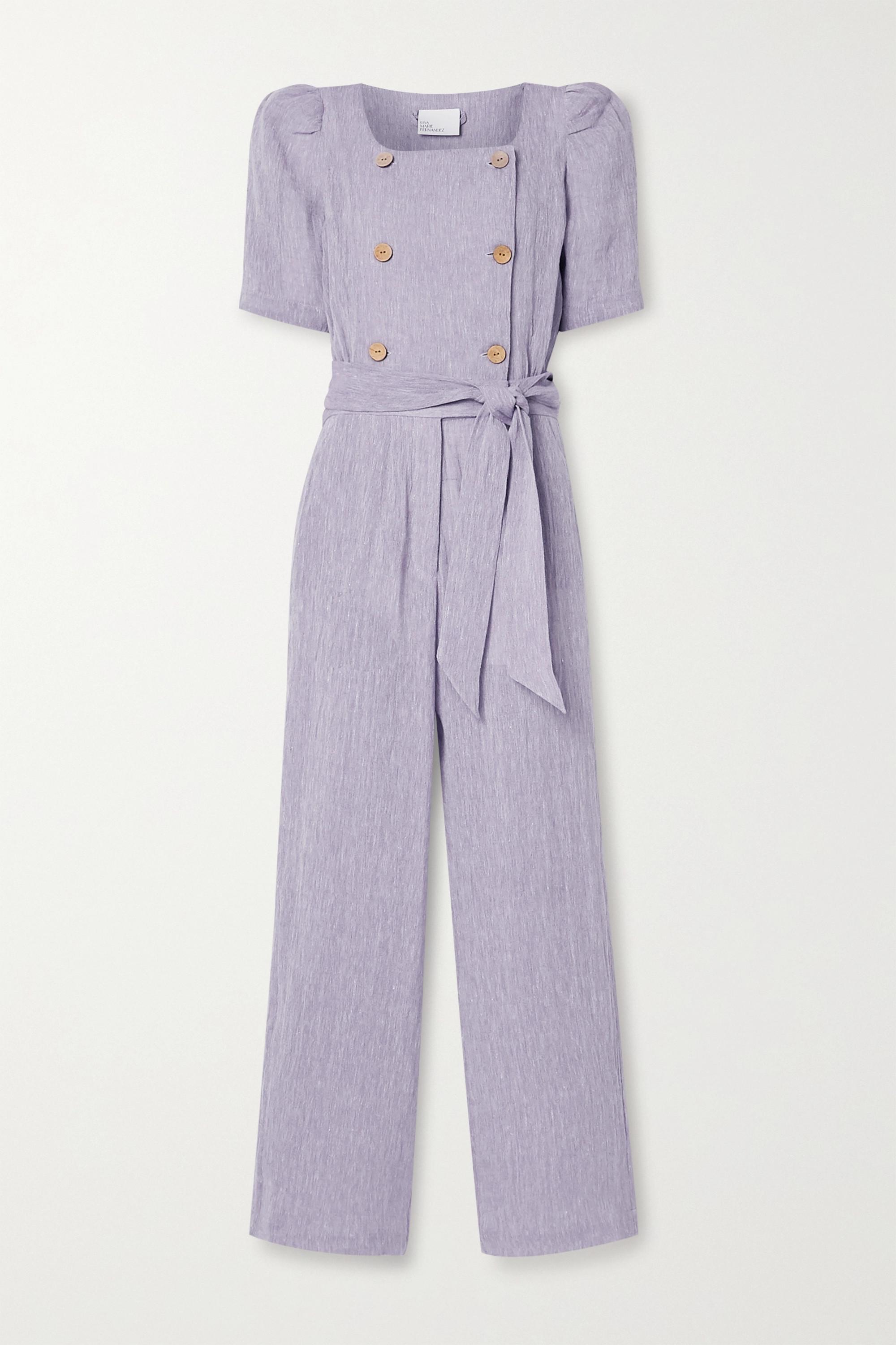 Lisa Marie Fernandez Diana belted double-breasted organic linen-blend gauze jumpsuit