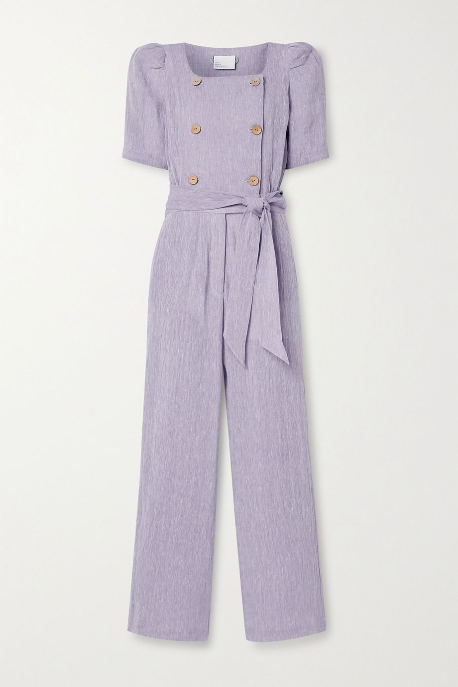 Lisa Marie Fernandez Diana belted double-breasted organic linen-blend gauze jumpsuit
