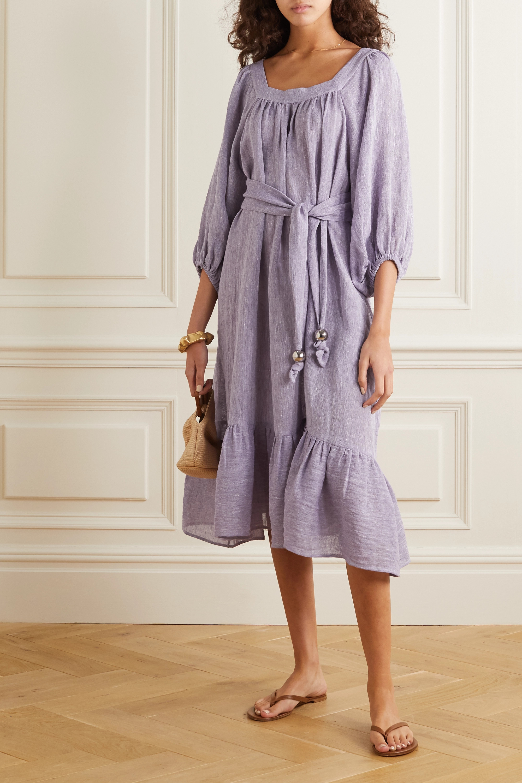 Lisa Marie Fernandez Laure belted organic linen-blend gauze midi dress