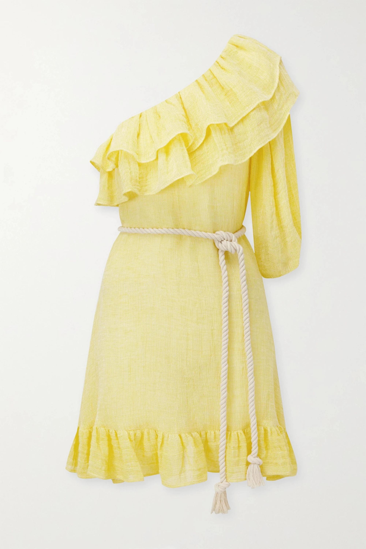 Lisa Marie Fernandez Arden one-shoulder ruffled linen-blend gauze mini dress