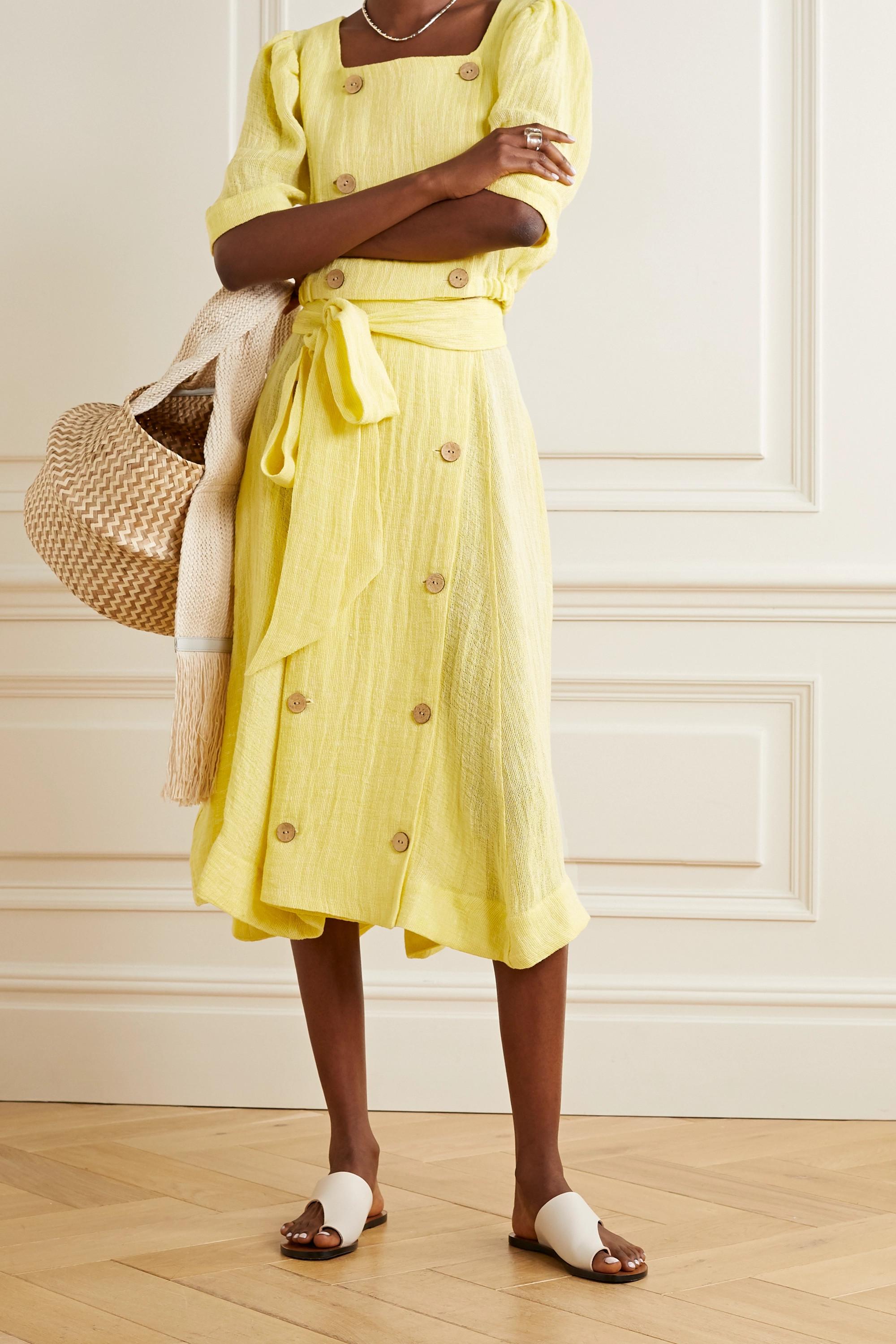 Lisa Marie Fernandez Diana cropped linen-blend gauze top