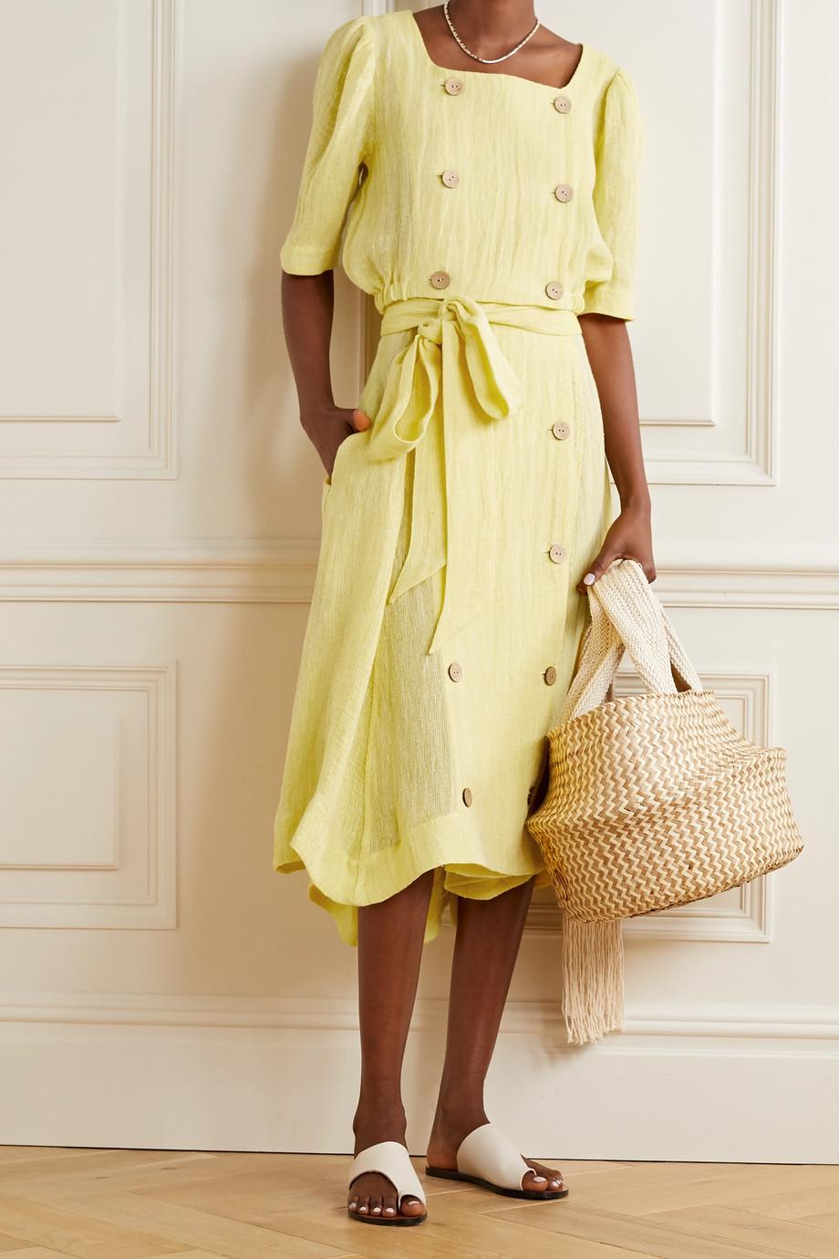 Lisa Marie Fernandez Diana 配腰带亚麻混纺薄纱中长半身裙