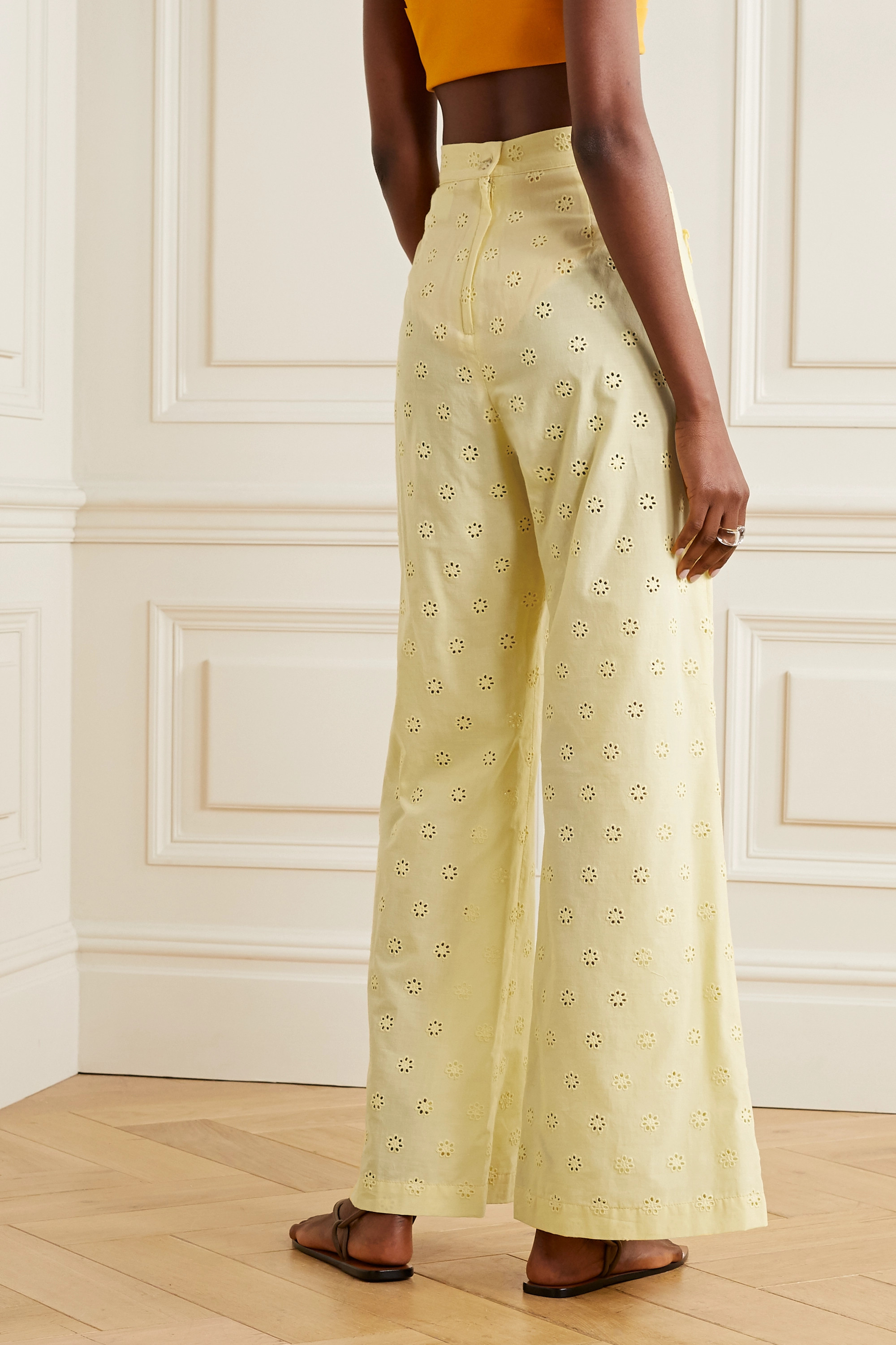 Lisa Marie Fernandez Holly ruffled broderie anglaise cotton wide-leg pants