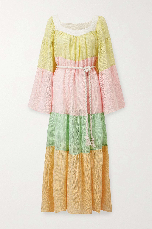 Lisa Marie Fernandez Tiered color-block linen-blend gauze maxi dress