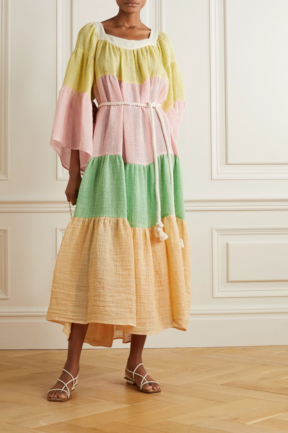 Lisa Marie Fernandez Tiered color-block linen-blend gauze maxi dress