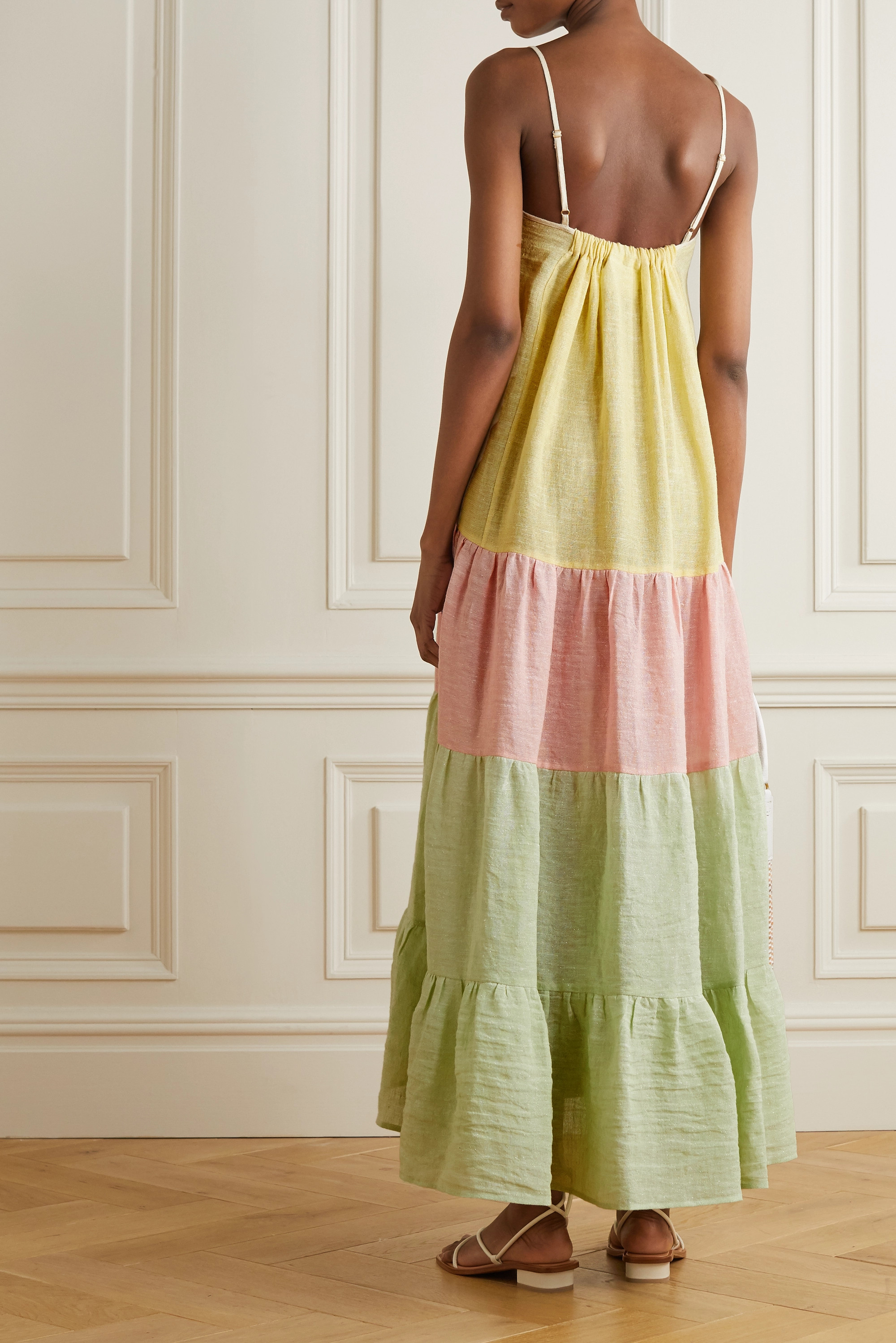 Lisa Marie Fernandez St. Tropez tiered color-block linen-blend gauze midi dress