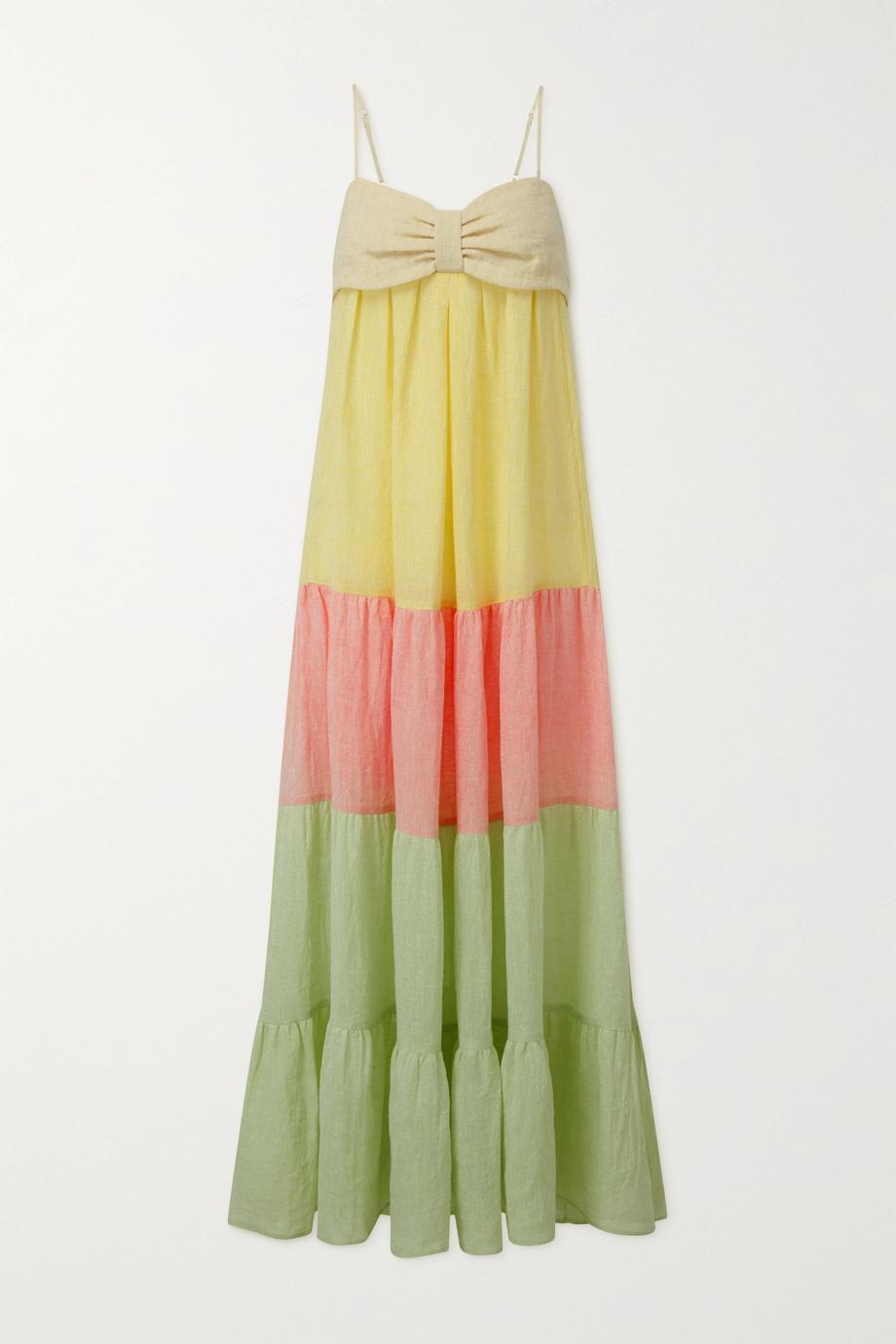 Lisa Marie Fernandez St. Tropez tiered color-block linen-blend gauze midi dress