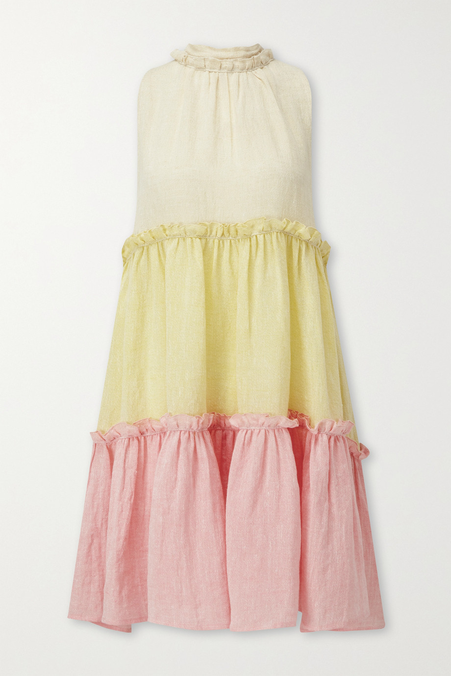 Lisa Marie Fernandez Erica tiered color-block linen-blend gauze mini dress
