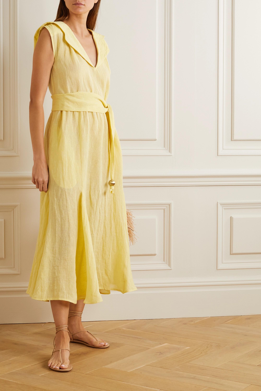 Lisa Marie Fernandez Marguerite belted metallic linen-blend gauze midi dress