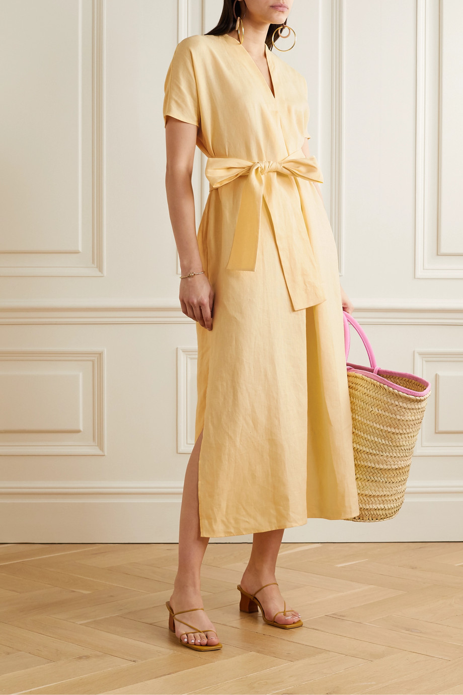 Lisa Marie Fernandez Rosetta belted linen maxi dress