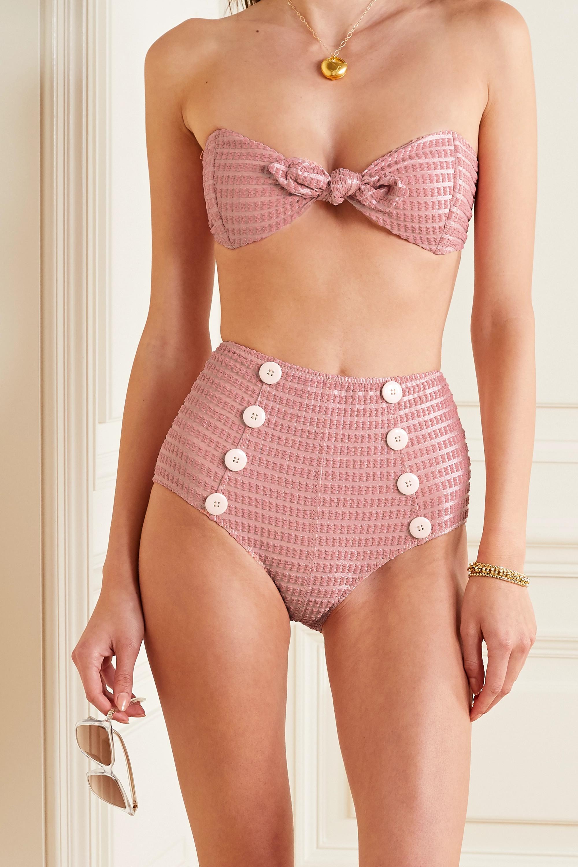 Lisa Marie Fernandez Poppy knotted seersucker bikini