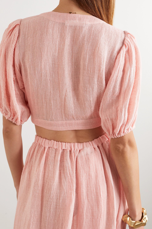 Lisa Marie Fernandez Cropped linen-blend gauze top