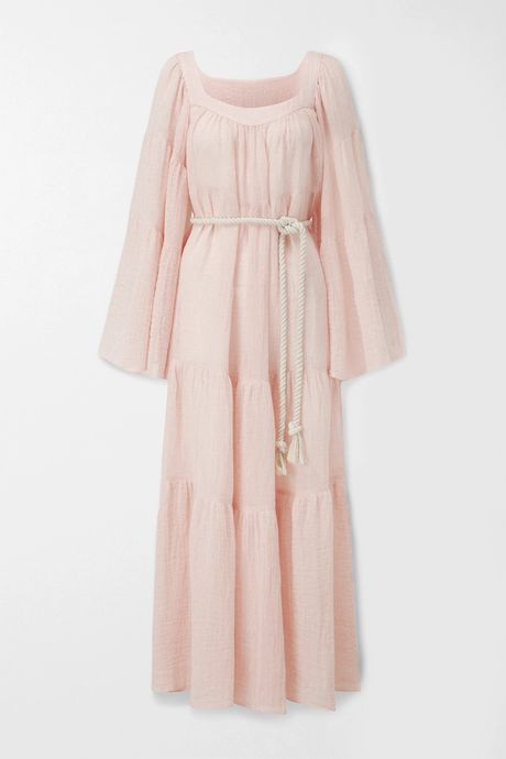Baby pink Belted tiered linen-blend gauze maxi dress | Lisa Marie Fernandez SLWEQi
