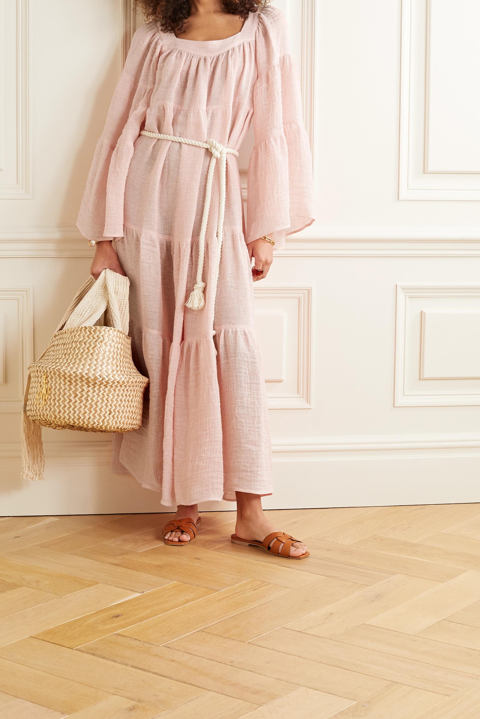 Lisa Marie Fernandez Belted tiered linen-blend gauze maxi dress