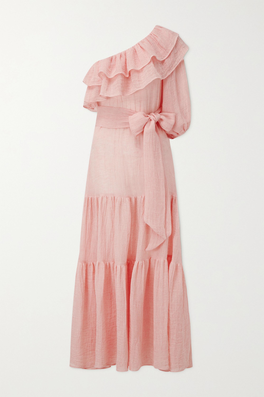 Lisa Marie Fernandez Arden one-shoulder tiered linen-blend gauze maxi dress