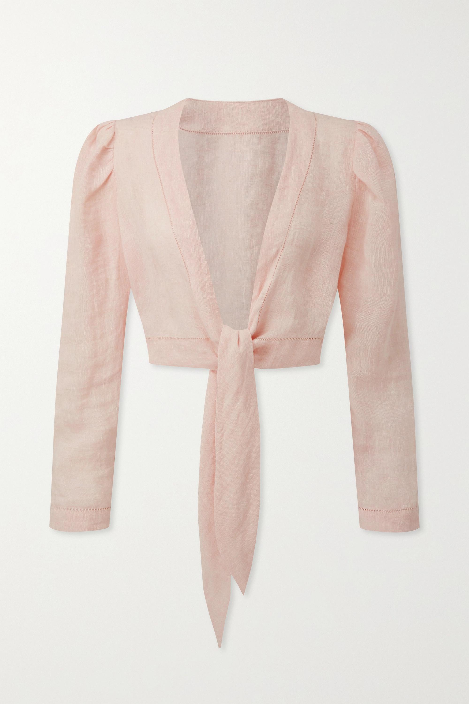 Baby Pink Cropped Tie-front Linen-gauze Top | Lisa Marie Fernandez