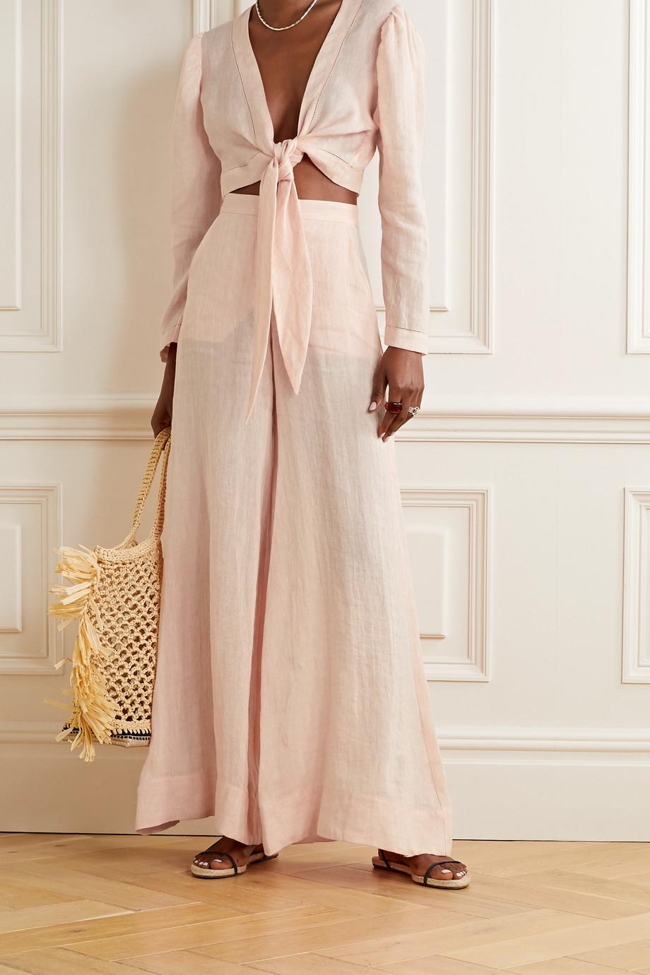 Lisa Marie Fernandez Linen-gauze wide-leg pants