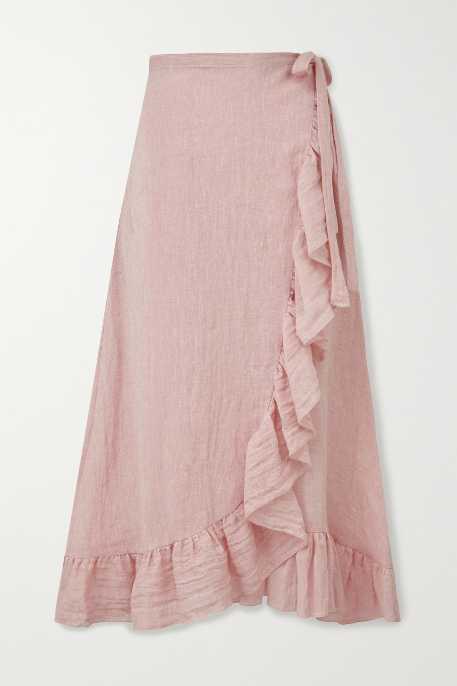 Lisa Marie Fernandez Ruffled metallic linen-blend gauze wrap midi skirt