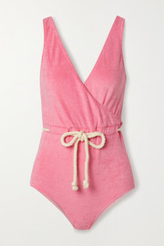 Lisa Marie Fernandez Yasmin belted wrap-effect cotton-blend terry swimsuit