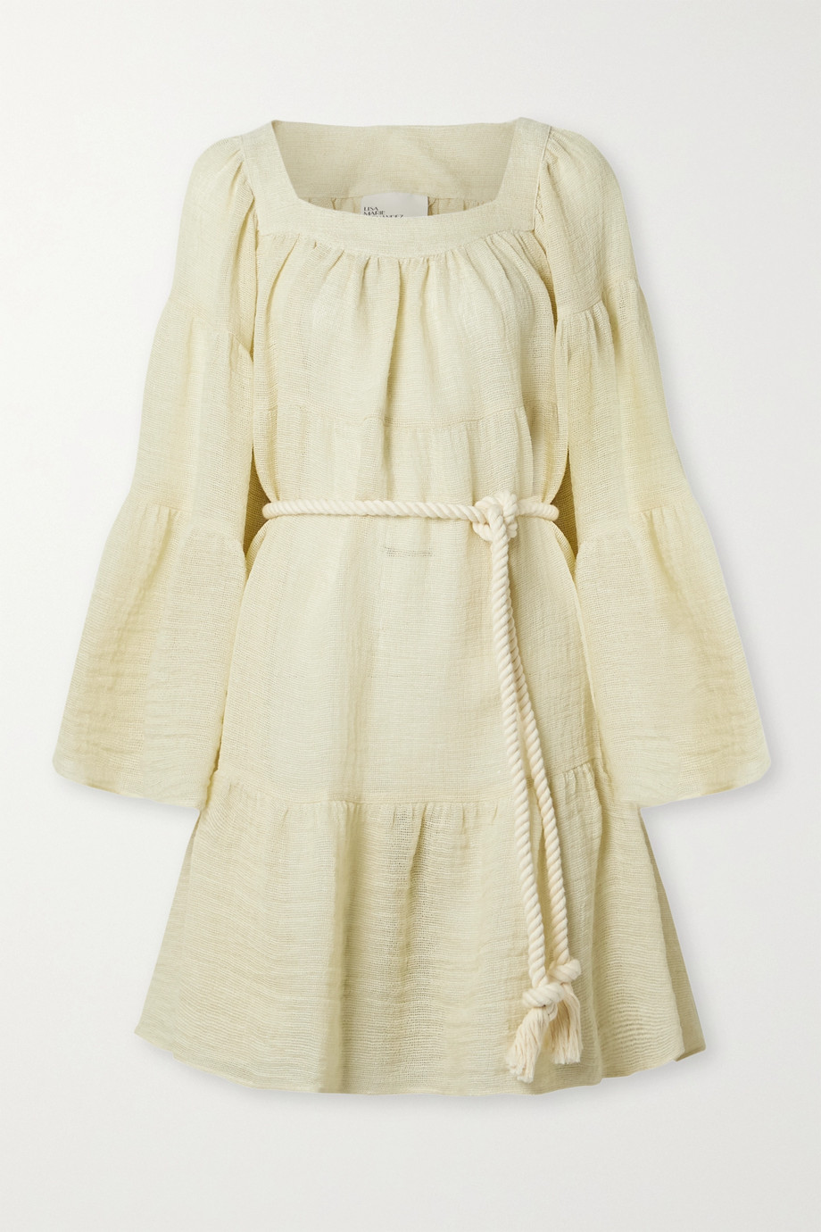Lisa Marie Fernandez Belted linen-blend gauze mini dress
